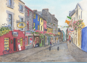 Galway Ireland Quay Street Watercolour Painting