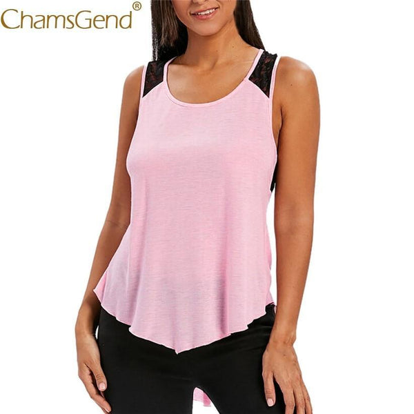 eprolo Free Shipping Women Fashion Cross Lace Back Pink Tank Top Irregular Long Shirt 80515 Drop Shipping