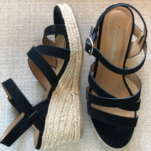 Strappy Suede Espadrille Wedge Sandals