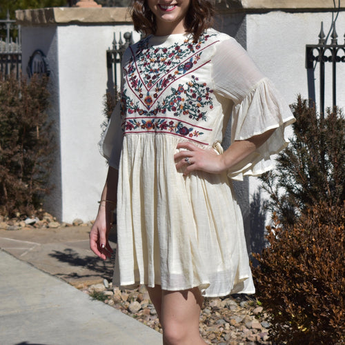 Embroidered Ruffle Sleeve Dress