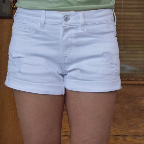 Distressed Boyfriend Cuff Shorts