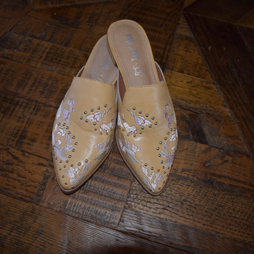 Studded Embroidered Mules