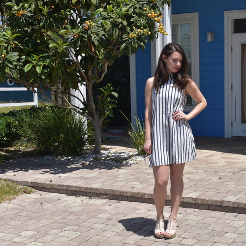 High-Neck Stripe Dress