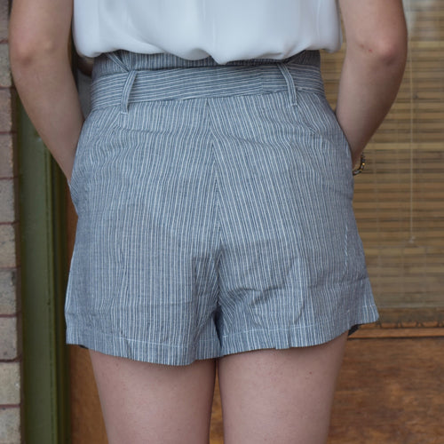 High-Waisted Pin Stripe Tie Shorts