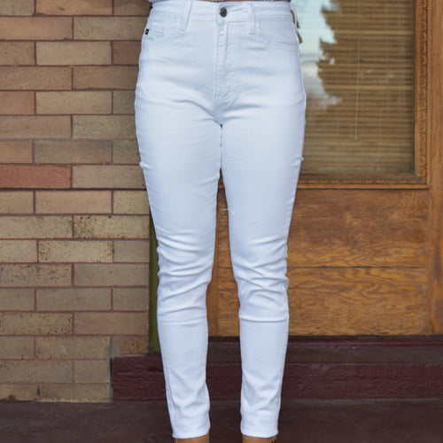White High-Waisted Skinny Jeans