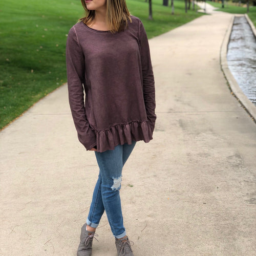 Long Sleeve Ruffle Bottom Top