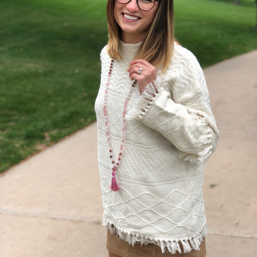Tassel Sleeve Sweater