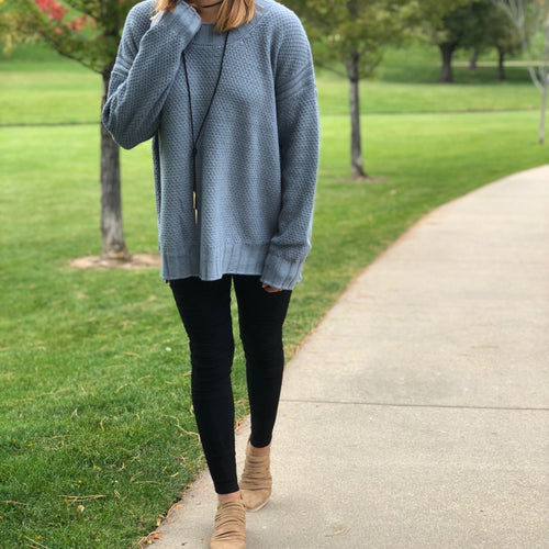 Side Split High neck Sweater