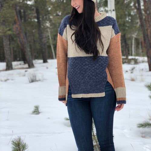 Color Block Cutout Sweater