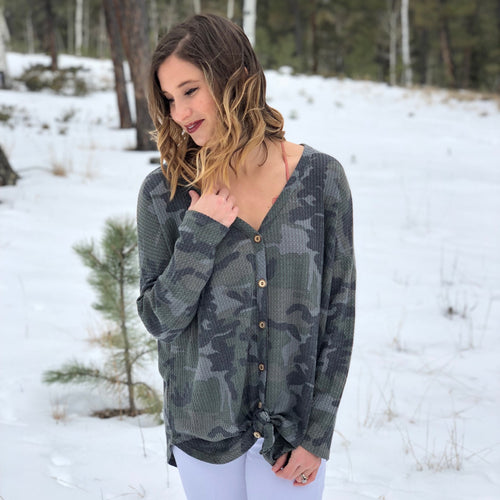 Button Up Camo Henley Top