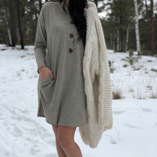 Button Up Sweater Dress