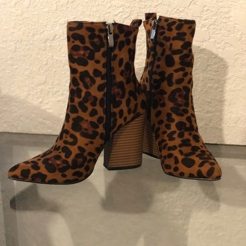 Suede Leopard Ankle Booties