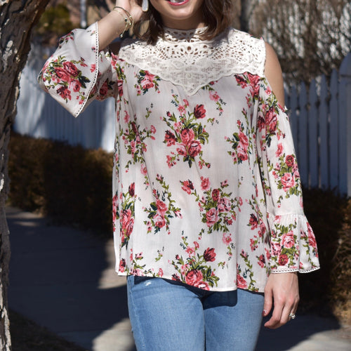 Cold Shoulder Lace High Neck Top