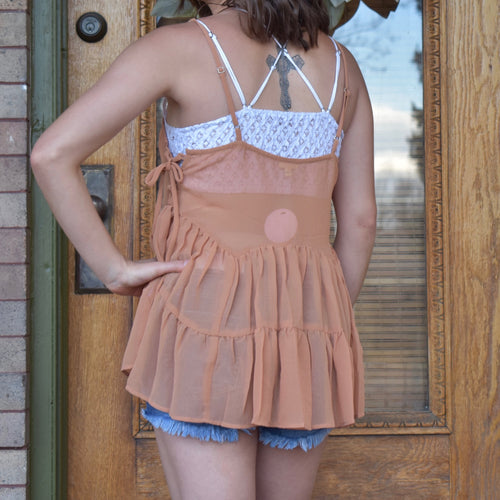 Sheer Tie Up Sleeveless Top