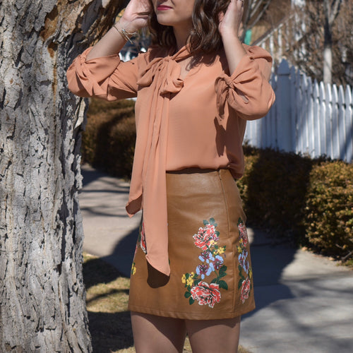 Floral Faux Leather Skirt