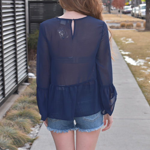 Sheer Ruffle Sleeve Top