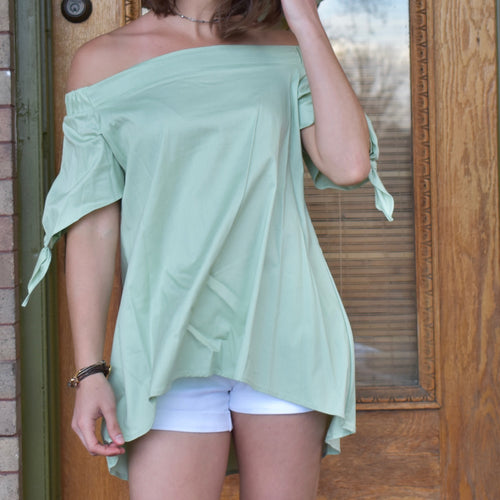 Off-The-Shoulder Tie Sleeve Tunic