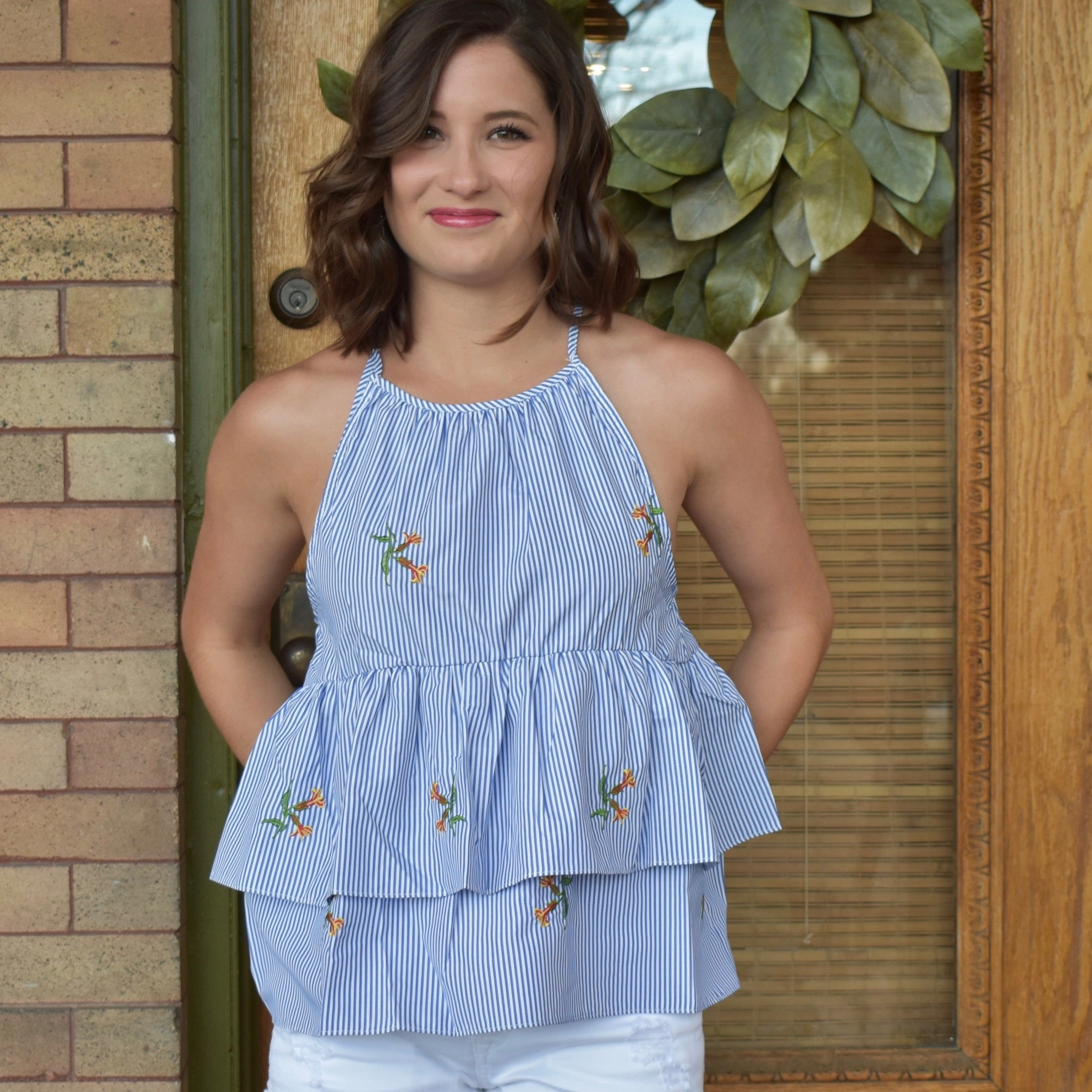 Double Peplum Sleeveless Top