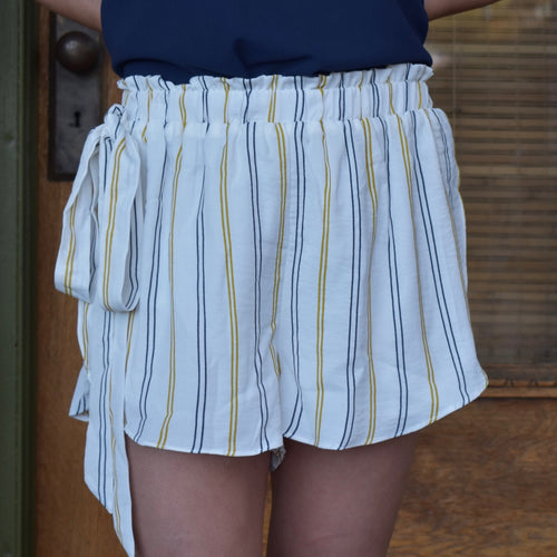 Stripe Bow Detail Shorts