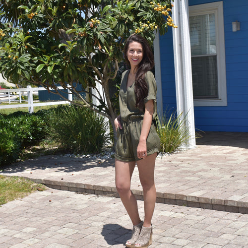 Pocket Drawstring Romper