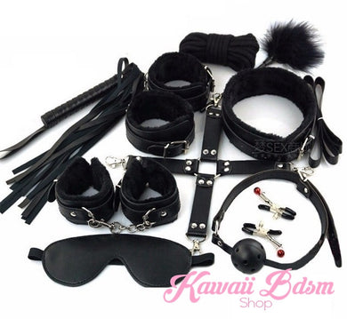 Bdsm kit Set 10 pcs gag hand cuffs collar leash ankle cuffs whip paddle nipple clamps  feather rope shibari bondage cute black fetish aesthetic ddlg cglg mdlg ddlb mdlb little submissive restraints sex couple by Kawaii BDSM - cute and kinky / Worldwide Free Shipping