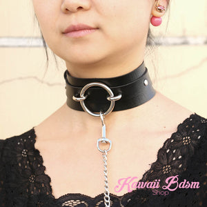 O ring choker collar brat sub submissive dom slave sexy leash chain training ddlg ddlb cglg cglb mdlg mdlb little boy girl pink black purple red goth fashion doll baby by Kawaii Bdsm - Cute and Kinky / Worldwide Free and Discreet Shipping   (1227641126964)
