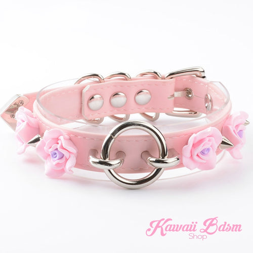 Collar choker o ring flower roses floral antheia goddess princess pink black fetish fashion alternative outfit by Kawaii BDSM - cute and kinky / Worldwide Free Shipping (11438800071)