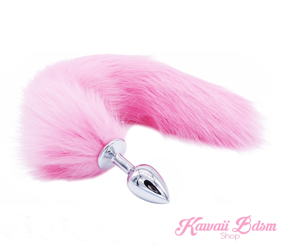 Pink vegan faux fur tail plug silicone stainless steel neko catgirl cat kittenplay kitten girl boy petplay pet sexy adult toys buttplug plug anal ass submissive goth creepy cute yami ddlg cgl mdlg mdlb ddlb little by Kawaii BDSM - cute and kinky / Worldwide Free Shipping