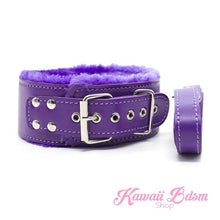Purple Bondage kit set princess love couple gift 7pcs bdsm kawaii cute handcuffs gag collar leash shibari rope flogger wrist cuffs kittenplay petplay gear