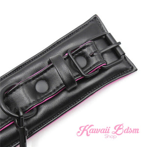 Bdsm bondage kit set vegan leather faux superior premium luxury restraints couple sex black collar hand cuffs ankle leash pet play kitten submissive sub slave by Kawaii Bdsm - cute and kinky / worldwide Free & Discreet Shipping