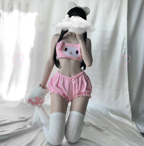 my melody  Cinnamoroll  anime aesthetic kawaii waifu cute hentai babe neko sexy lingerie bra shorts set pink white babygirl ddlgworld ddlg ageplay bondage submissive kittenplay roleplay kitten pet japanese adegao by Kawaii BDSM - cute and kinky / Worldwide Free Shipping