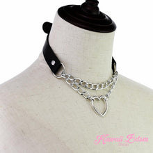 choker heart chain handmade collar tumblr aesthetic princess ddlg mdlg mdlb cglg kitten kittenplay pet petplay fetish bondage harajuku goth fashion outfit sub dom  pinkblack pastel ageplay baby ddlgworld ddlgplayground babygirl girly by Kawaii BDSM - cute and kinky / Worldwide Free Shipping (5243106656418)