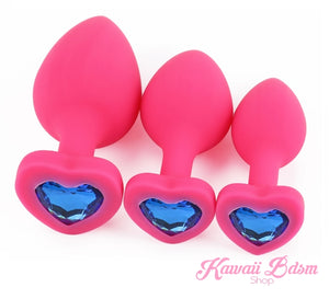 Silicone buttplugs heart shapped pink red blue babygirl sissy femboy aesthetic boy little cglg cglb mdlg mdlb ddlg ddlb agelay petplay kittenplay puppyplay fetish sex partner gift love couple goth kitten pet puppy by Kawaii BDSM - cute and kinky / Worldwide Free Shipping