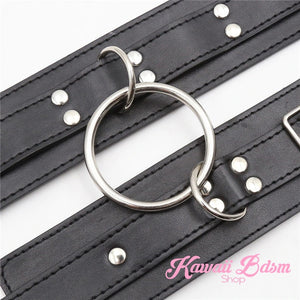 thigh to wrists cuffs leather quality restraints bondage submissive sub dominant brat dom baby ddlg sadomasochist sado masochist fetish kink roleplay sexy girl boy by Kawaii BDSM - cute and kinky / Worldwide Free Shipping