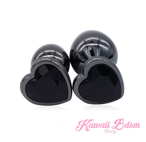 Stainless Steel buttplugs vibrator kit heart shapped black babygirl sissy femboy aesthetic boy little cglg cglb mdlg mdlb ddlg ddlb agelay petplay kittenplay puppyplay fetish sex partner gift love couple goth kitten pet puppy by Kawaii BDSM - cute and kinky / Worldwide Free Shipping