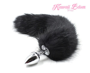 Black vegan faux fur tail plug silicone stainless steel neko catgirl cat kittenplay kitten girl boy petplay pet sexy adult toys buttplug plug anal ass submissive ddlg cgl mdlg mdlb ddlb little by Kawaii BDSM - cute and kinky / Worldwide Free Shipping