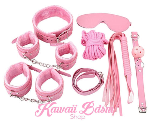 Bondage kit set princess love couple gift 7pcs bdsm kawaii cute handcuffs gag collar leash shibari rope flogger wrist cuffs