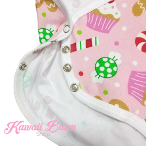 Candy Cane & Gingerbread Princess Onesie (907155636276)