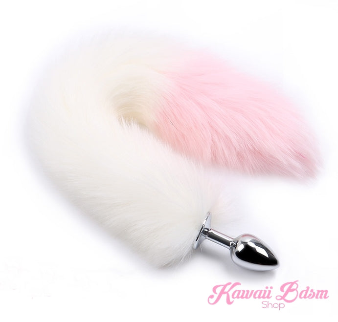 white and pink fox kitten puppy play vegan faux fur tail plug silicone stainless steel neko catgirl cat kittenplay kitten girl boy petplay pet sexy adult toys buttplug plug anal ass submissive goth creepy cute yami ddlg cgl mdlg mdlb ddlb little by Kawaii BDSM - cute and kinky / Worldwide Free Shipping