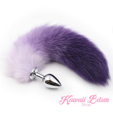 Ombre Purple White tail plug silicone stainless steel neko catgirl cat kittenplay kitten girl boy petplay pet sexy adult toys buttplug plug anal ass submissive ddlg cgl mdlg mdlb ddlb little by Kawaii BDSM - cute and kinky / Worldwide Free Shipping