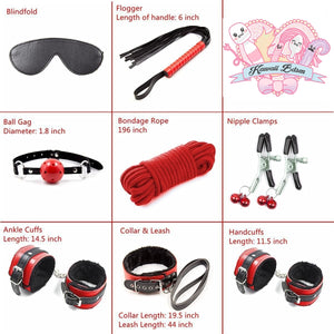 Bdsm kit Set 8 pcs Luxury Premium Superior Quality gag hand cuffs collar leash ankle cuffs whip paddle vegan leather bondage cute black red fetish aesthetic ddlg cglg mdlg ddlb mdlb little submissive restraints sex couple by Kawaii BDSM - cute and kinky / Worldwide Free Shipping