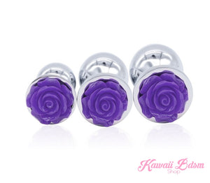 Stainless Steel training buttplugs vibrator kit purple crystal jewel babygirl sissy femboy aesthetic boy little cglg cglb mdlg mdlb ddlg ddlb agelay petplay kittenplay puppyplay fetish sex partner gift love couple goth kitten pet puppy red rose flower floral feminist goddess pink aesthetic anal by Kawaii BDSM - cute and kinky / Worldwide Free Shipping (4343721132084)