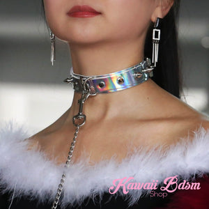 collar leash choker fashion goth sexy slave sub submissive ddlg cglg cglb mdlb mommy daddy little bondage black pink aesthetic white by Kawaii Bdsm - Cute and Kinky / Worldwide Free and Discreet Shipping