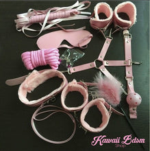 Bdsm kit Set 10 pcs gag hand cuffs collar leash ankle cuffs whip paddle nipple clamps  feather rope shibari bondage cute pink aesthetic ddlg cglg mdlg ddlb mdlb little submissive restraints sex couple by Kawaii BDSM - cute and kinky / Worldwide Free Shipping