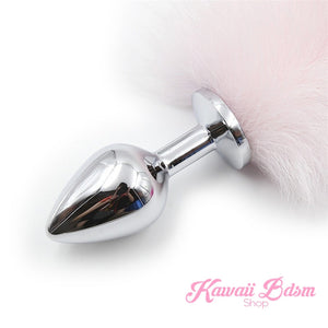 Ombre Pink White tail plug silicone stainless steel neko catgirl cat kittenplay kitten girl boy petplay pet sexy adult toys buttplug plug anal ass submissive ddlg cgl mdlg mdlb ddlb little by Kawaii BDSM - cute and kinky / Worldwide Free Shipping