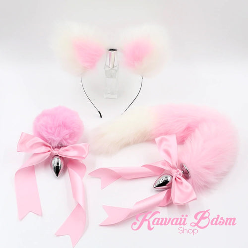 Light pink pastel White vegan faux fur tail plug ears set silicone stainless steel bunny neko catgirl cat kittenplay kitten girl boy petplay pet sexy adult toys buttplug plug anal ass submissive ddlg cgl mdlg mdlb ddlb little aesthetic japanese sexy adult couple ddlgworld ddlgplayground by Kawaii BDSM - cute and kinky / Worldwide Free Shipping