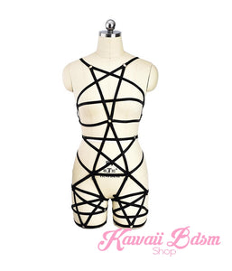 Harness Pentagram Star Chest Body handmade bondage black sexy belt ddlg babygirl little one girl women submissive fetish fashion gothic goth pastel outfit little baby by Kawaii Bdsm - Cute and Kinky / Worldwide Free and Discreet Shipping