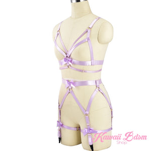 Harness Garter Chest Body handmade luxury bondage pink purple red black sexy belt ddlg babygirl little one girl women submissive by Kawaii Bdsm - Cute and Kinky / Worlwide Free and Disreet Shipping  (499766755380)