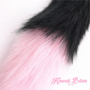 Black and pink vegan faux fur tail plug silicone stainless steel neko catgirl cat kittenplay kitten girl boy petplay pet sexy adult toys buttplug plug anal ass submissive goth creepy cute yami ddlg cgl mdlg mdlb ddlb little by Kawaii BDSM - cute and kinky / Worldwide Free Shipping (1075056476212)