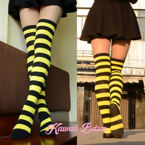 Striped Thigh High Socks